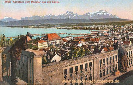 Konstanz vom Münster aus mit Säntis