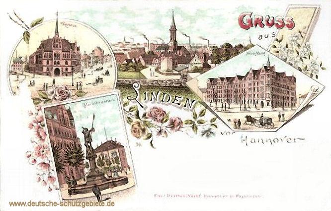 Linden, Rathaus - Neuer Markt - Marktbrunnen