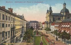 Mannheim, Schillerplatz mit Theater und Jesuitenkirche