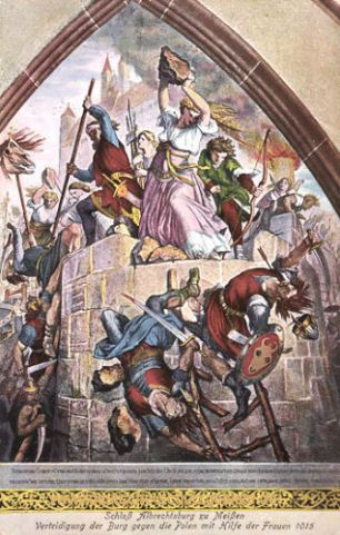 Verteidigung der Burg gegen die Polen mit Hilfe der Frauen 1015