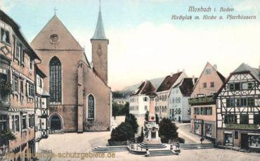 Mosbach, Kirchplatz mit Kirche und Pfarrhäusern