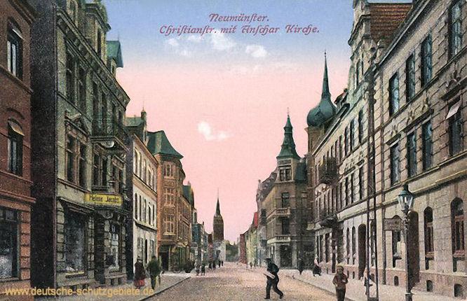 Neumünster, Christianstraße mit Anschar-Kirche