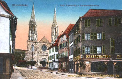 Oberehnheim i. Els., Katholische Pfarrkirche und Sechseimerbrunnen