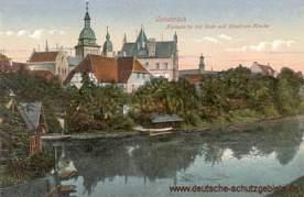 Osnabrück, Hasepartie mit Dom und Ursulinen-Kloster