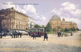 Pilsen, Radecky-Promenade mit dem Theater
