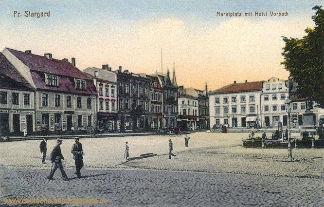 Preußisch-Stargard, Marktplatz mit Hotel Vorbach