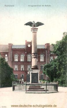 Rathenow, Kriegerdenkmal mit Schule