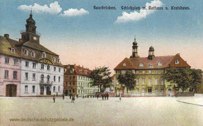 Saarbrücken, Schlossplatz mit Rathaus und Kreishaus