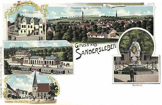 Sandersleben, Hotel Ratskeller, Bahnhof, Marktplatz, Denkmal