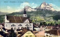 Schwyz, Hauptplatz und die beiden Mythen