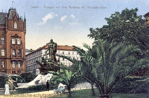 Stettin, Anlagen vor dem Rathaus mit Manzelbrunnen