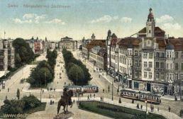 Stettin, Königsplatz mit Stadttheater