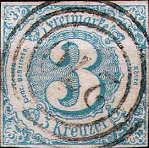 Thurn und Taxis mit Währung Gulden, 3 Kreuzer