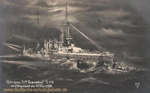 Untergang S.M. Torpedoboot S178 vor Helgoland am 04.03.1913
