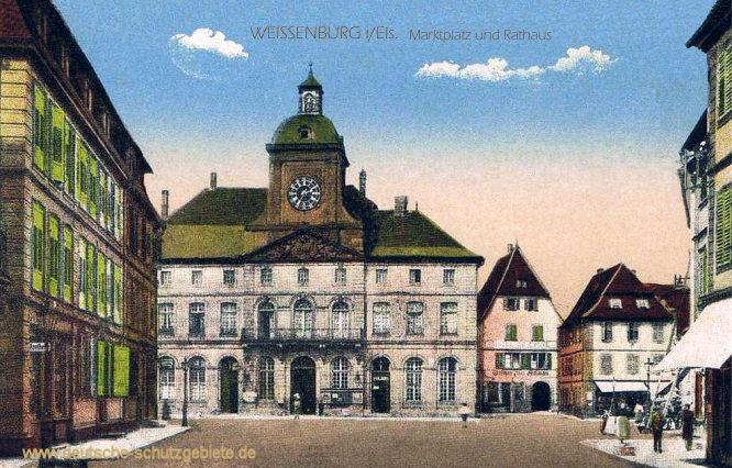Weißenburg im Elsass, Marktplatz und Rathaus