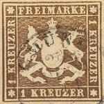 Königreich Württemberg mit Währung Gulden, 1 Kreuzer