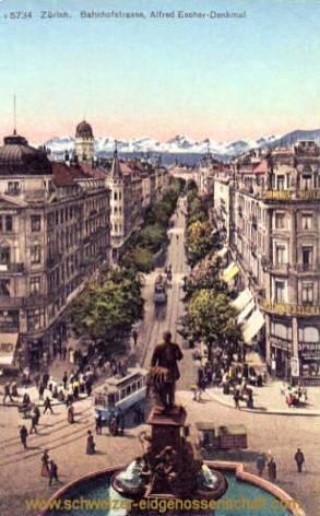 Zürich, Bahnhofstraße, Alfred Escher-Denkmal