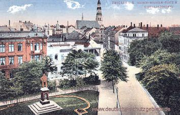 Zwickau, Kaiser-Wilhelm-Platz mit Bismarckdenkmal