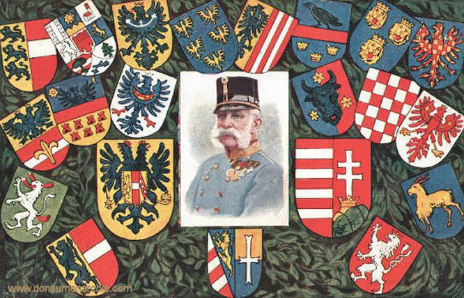 Kaiser Franz Josef mit Wappen
