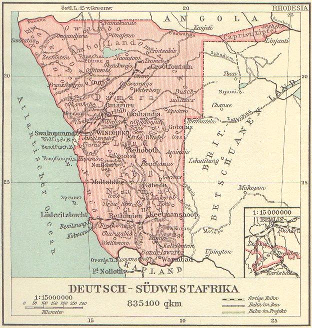 Karte Afrika Kolonien.Deutsch Sudwestafrika Ehemalige Kolonie 1884 1919