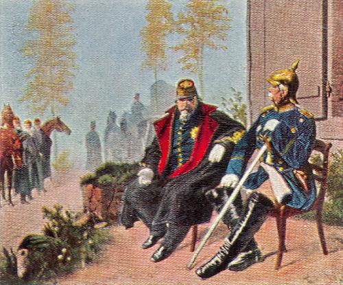 Napoleon III. und Bismarck vor dem Weberhäuschen in Donchery, 2. September 1870