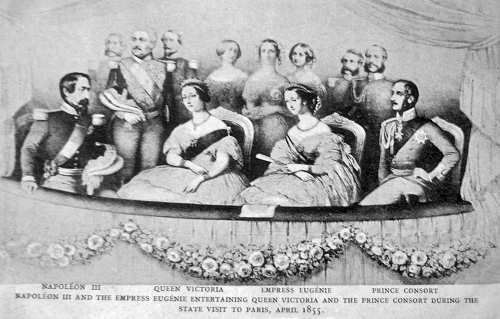 Napoleon III., Queen Victoria, Eugenie, Prince Consort zu Besuch in Paris im April 1855