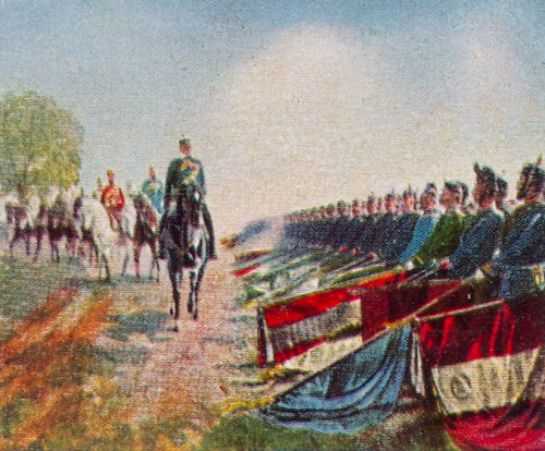 Erbeutete französische Fahnen auf dem Tempelhofer Feld, Juni 1871