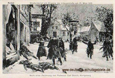 Memel, Straßenkampf am Eingang der Libauerstraße am 21. März 1915