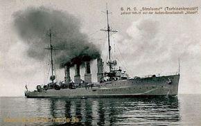"""S.M.S. Stralsund (Turbinenkreuzer) gebaut 1911-12 mit der Aktien-Gesellschaft """"Weser"""""""