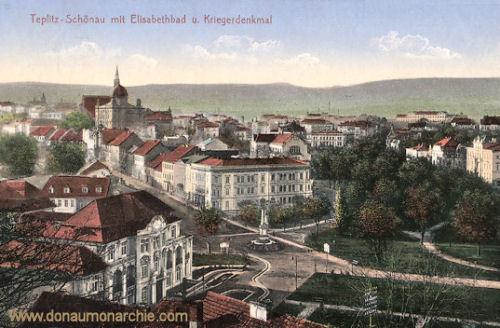 Teplitz-Schönau, Elisabethbad und Kriegerdenkmal