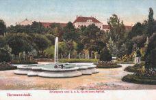 Hermannstadt (Nagyszeben - Sibiu), Erlenpark und k. u. k. Garnisons-Spital