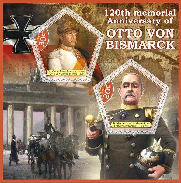 Otto von Bismarck 120. Todestag, Briefmarke 2018 St. Vincent und Grenadiens (Karibik)