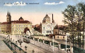 Temesvár, Liget út az Izr. templommal (Synagoge)