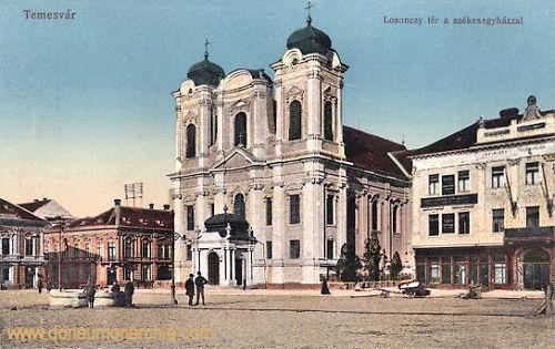 Temesvár, Losonczy tér a szekesegyházzal (Dom)