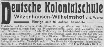 Anzeige Deutsche Kolonialschule