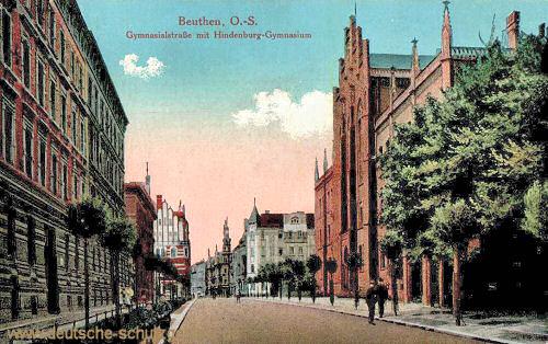 Beuthen O.-S., Gymnasialstraße mit Hindenburg-Gymnasium