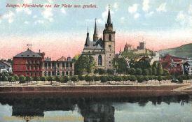 Bingen, Pfarrkirche von der Nahe aus gesehen