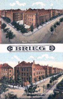 Brieg, Neue Kaserne und Moltkestraße mit Kaserne