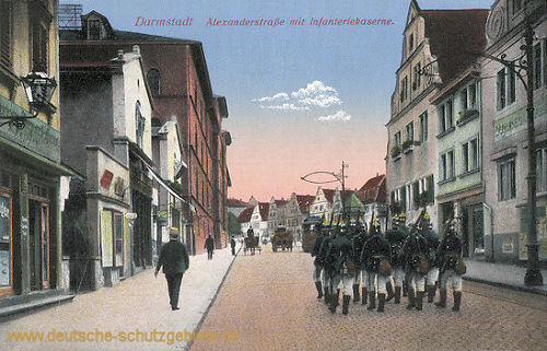 Darmstadt, Alexanderstraße mit Infanteriekaserne