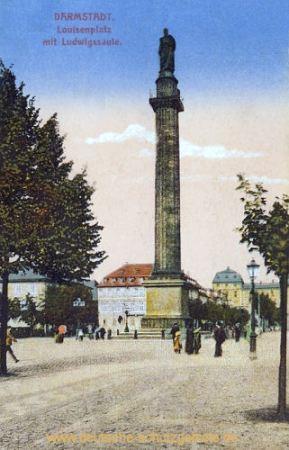 Darmstadt, Luisenplatz mit Ludwigsäule