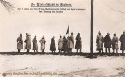 Die Winterschlacht in Masuren: Der Kaiser mit dem Armee-Oberkommando seitlich von Lyck beobachten den Rückzug des Feindes