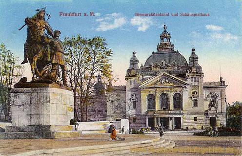 Frankfurt a. M., Bismarckdenkmal und Schauspielhaus