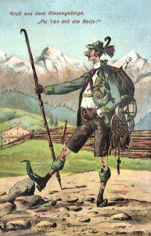 "Gruß aus dem Riesengebirge, ""Nu 'ran mit die Berje!"""