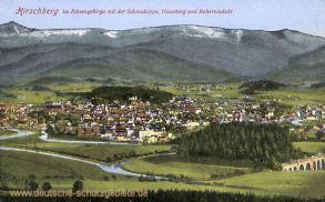 Hirschberg im Riesengebirge mit der Schneekoppe, Hausberg und Boberviadukt