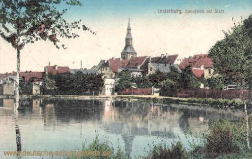 Insterburg, Schlossteich mit Stadt