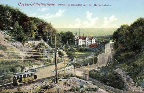 Kassel-Wilhelmshöhe, Partie im Drusetal mit der Herkulesbahn