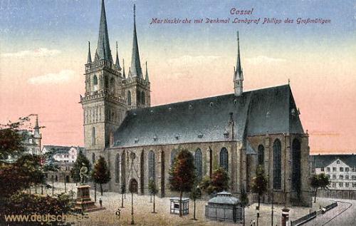 Kassel, Martinskirche mit Denkmal Landgraf Philipp des Großmütigen