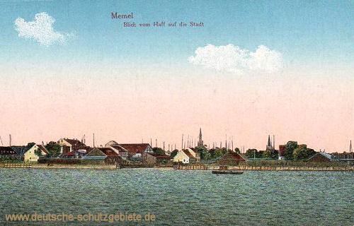 Memel, Blick vom Haff auf die Stadt
