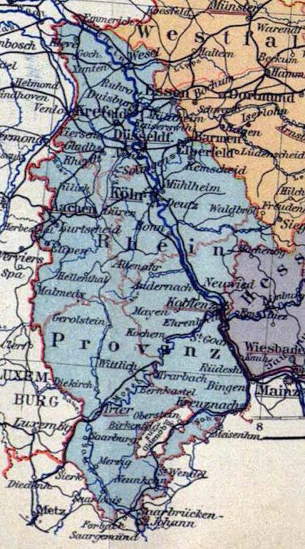 Rheinland, Landkarte 1900