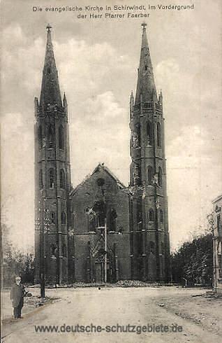 Schirwindt, evangelische Kirche, im Vordergrund der Herr Pfarrer Faerber